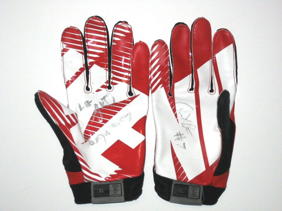 Quron Pratt Rutgers Scarlet Knights Game Worn Signed Red White Black Nike Gloves Rutgers Scarlet Knights Game Wear Nike Gloves