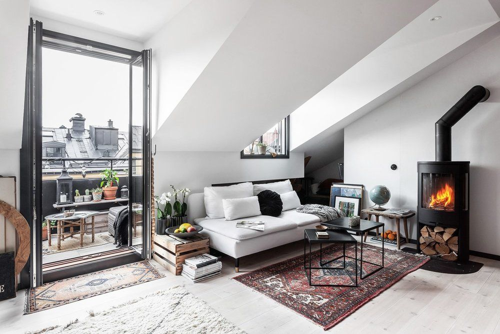 An Industrial Look For A Small Attic Apartment in Stockholm — THE NORDROOM #atticapartment