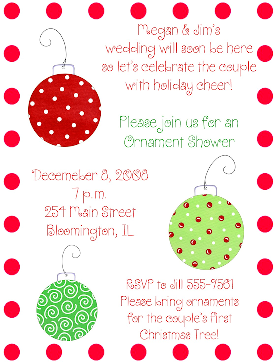 christmas ornament wedding shower invite i think i would like it