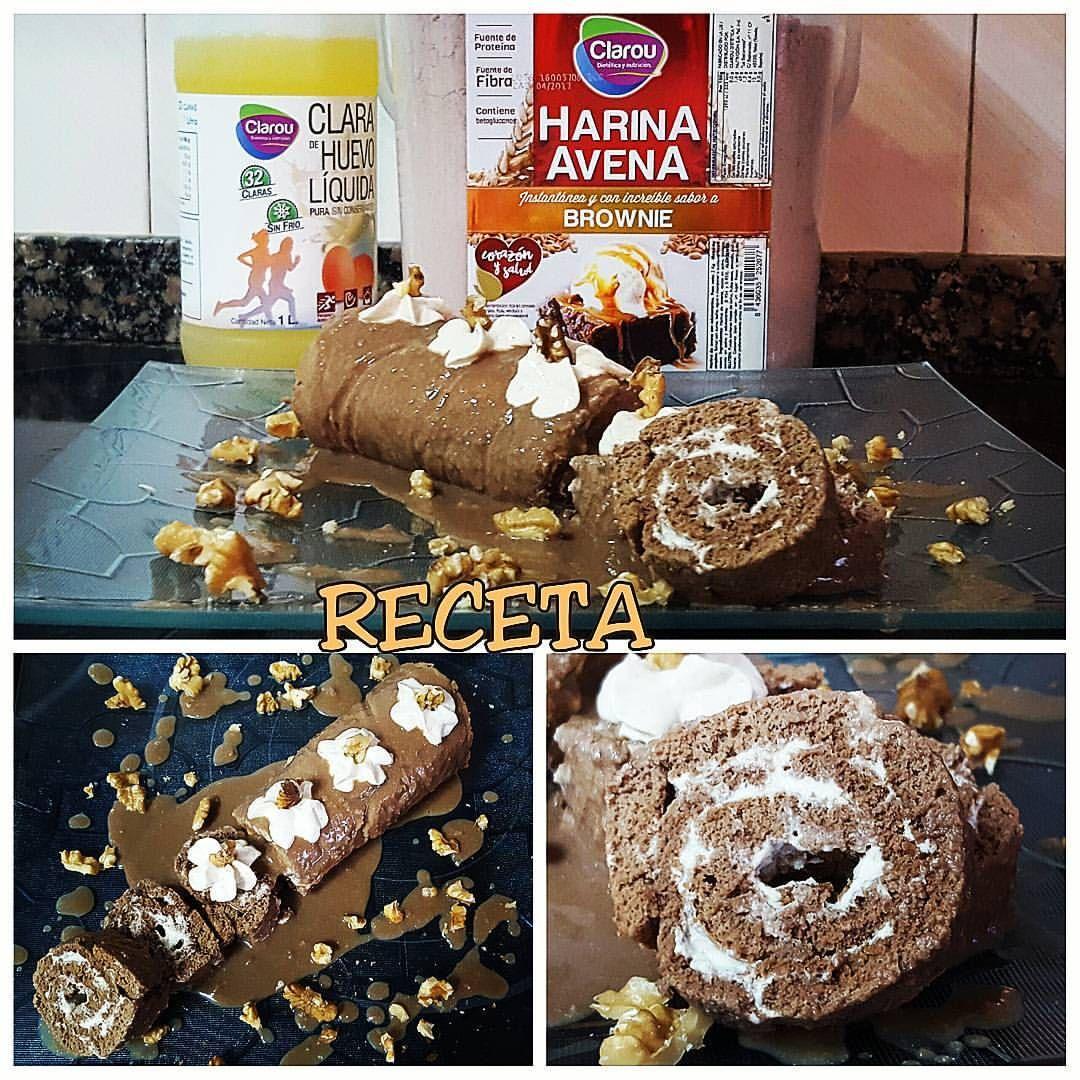 Brazo de gitano de Brownie y crema de nueces
