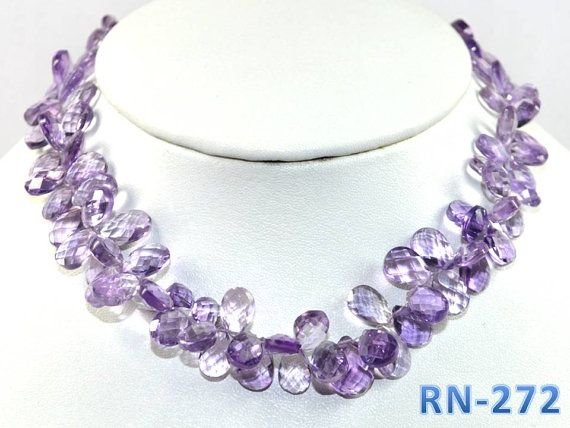 "RN-272  Amethyst Gemstone Pear Faceted Briolletes 180CT 9.50"" Necklace (RN272)"