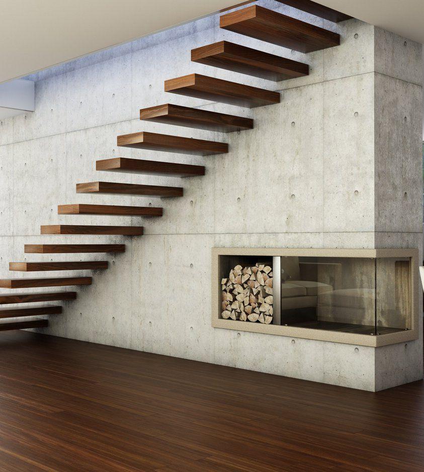 Escalera volada de madera Stairs Pinterest Escaleras voladas
