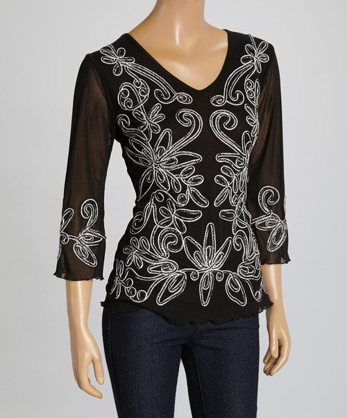 Take a look at the Black & White Embroidered Silk-Blend Top on #zulily today!