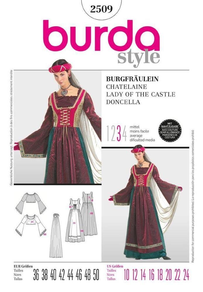 Burda sewing pattern ladies fairy fancy dress costume sizes 10 - 20 2509