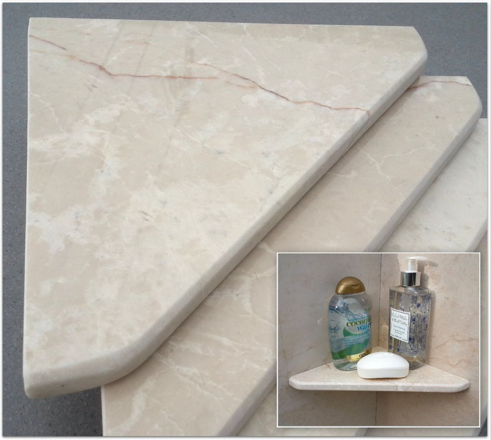Natural Stone Marble Shower Corner Shelf Bathroom Caddy Soap Dish