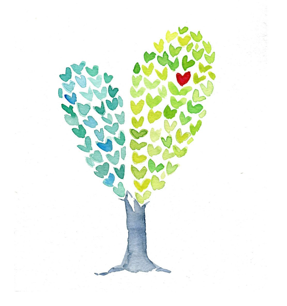 Heart Tree Print of an original watercolor painting , Love , anniversary, girls heart aqua green whimsy fun,Valentine, mothers day. $21.00, via Etsy.