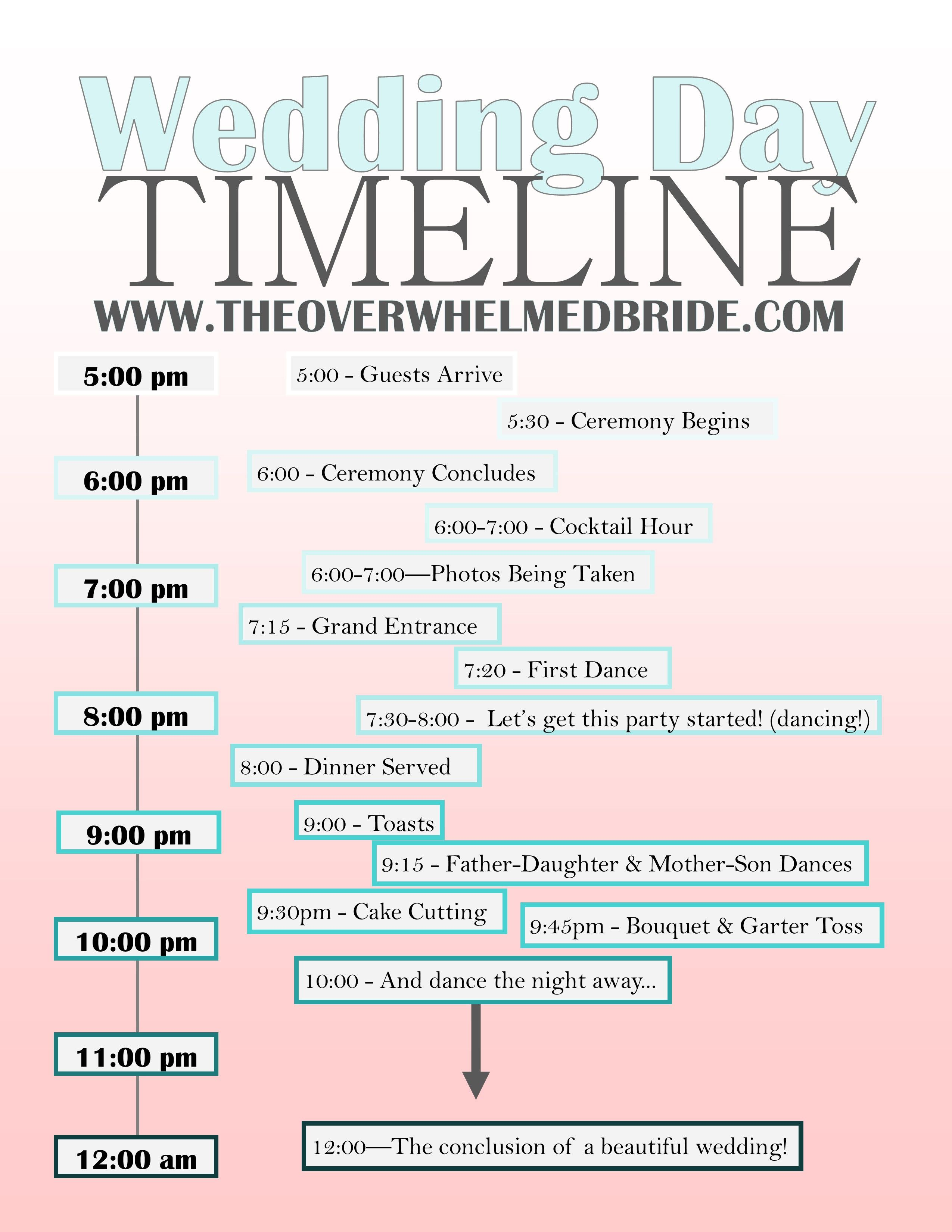 Your Wedding Day Timeline