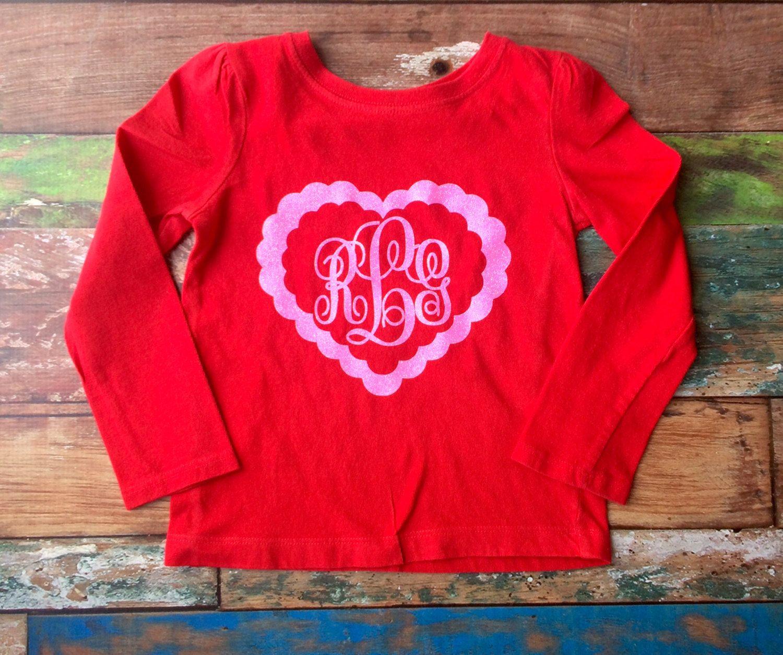 f14d37676ffa Valentine Monogram Tee shirt, Valentine's day t shirt, Girls monogram t  shirt, Heart shirt, Monogrammed gifts, Toddler, Girls, Teens, Women