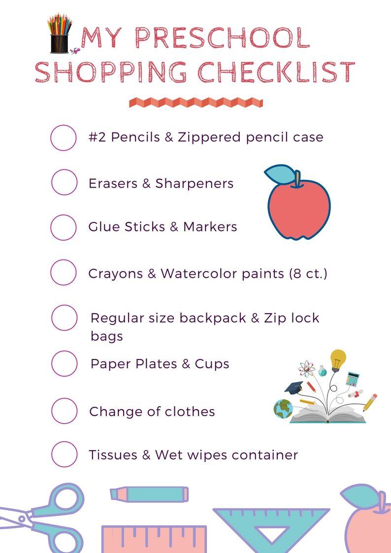 Preschool Supply List School Supplies List Preschool Supply
