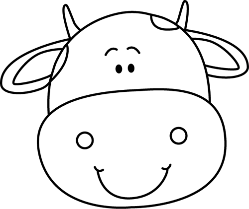 Black And White Cow Head Modeles Stencils Coloriage