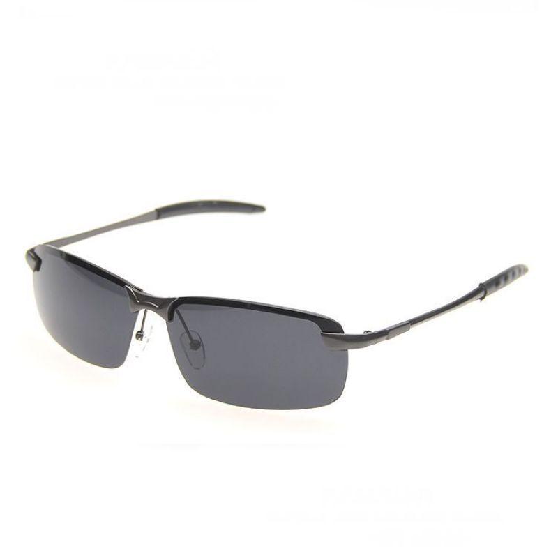 30aea54f98 Mens Rimless Sunglasses Metal Titanium Gun Grey Frame Polarized Rectangle  Grey Lens