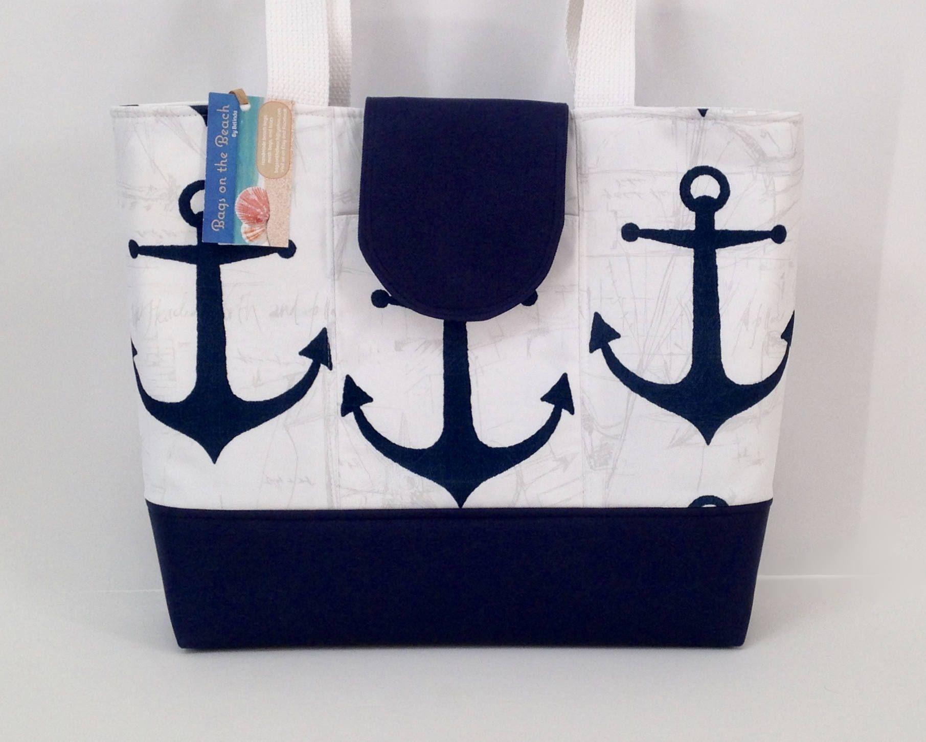 bf9483c0140 Navy Anchors Zippered Beach Bag, Beach Tote Bag, Nautical Beach Bag,  Waterproof Bottom, White   Navy, Overnight Bag, Diaper Bag by  BagsOnTheBeach on Etsy