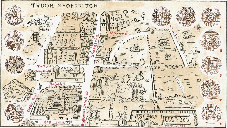 Adam Dant Map Of Tudor Shoreditch Part Of A Series Of Maps