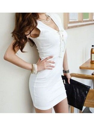 Lace Up V Neck Bodycon Casual Dress