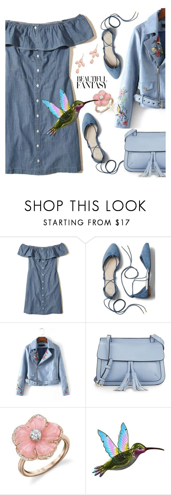"""""""Beautiful Fantasy."""" by tjclay3 ❤ liked on Polyvore featuring Hollister Co., Gap, WithChic, KC Jagger, Irene Neuwirth, Rina Limor, Pink, Blue and beautifulfantasy"""