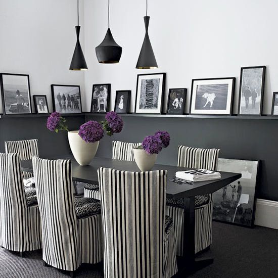 Black White Quirky Dining Room Striped Chair Covers Pendant Lights Picture Rail