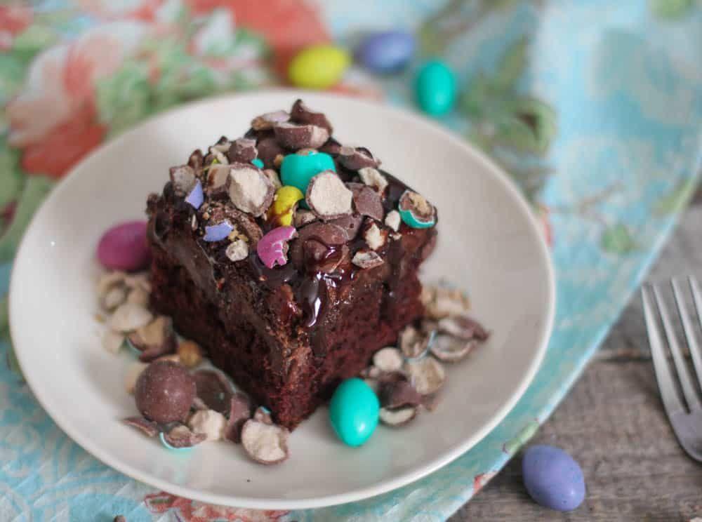 Chocolate Peanut Butter Malt Poke Cake #chocolatepeanutbutterpokecake Chocolate Peanut Butter Malt Poke Cake #chocolatepeanutbutterpokecake