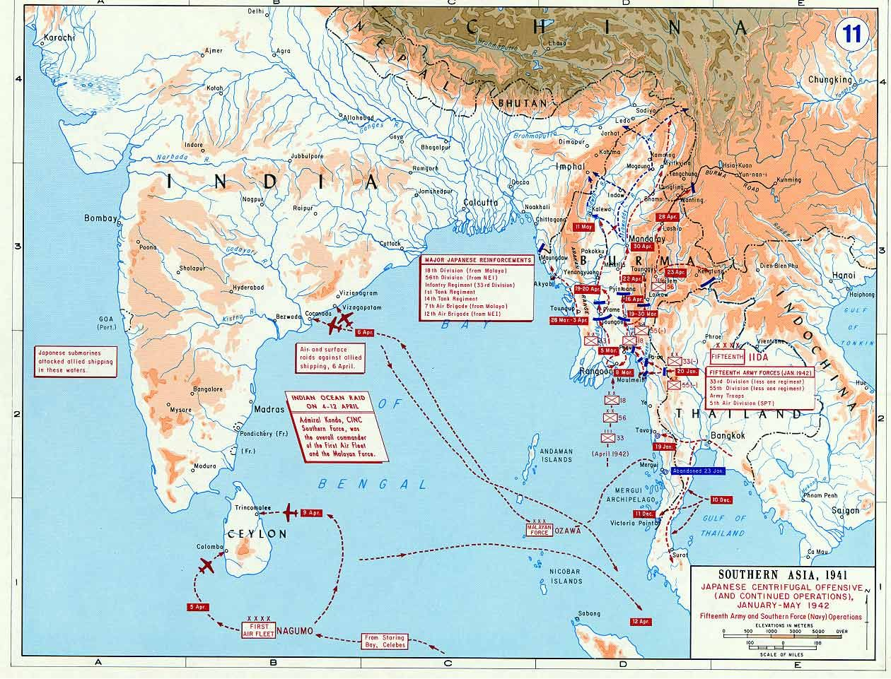 Map Map Showing Japanese Offensives In Malaya Burma And The - Burma clickable map