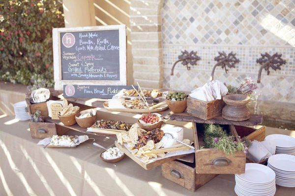 Rustic Buffet Setup Tables Table Settings Wedding Reception Food Catering