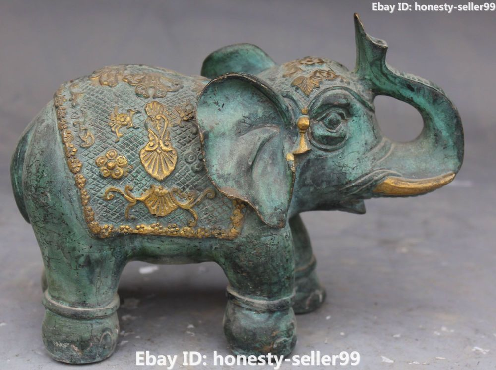 Old Chinese Bronze Gild Carving Flower Africa Elephant Heffalump Animal Statue