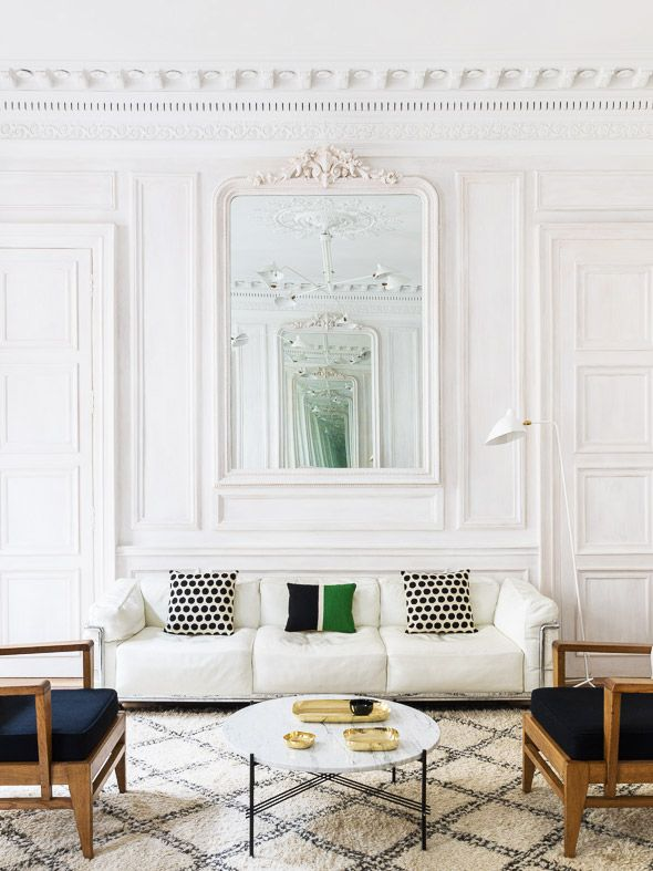Beautiful Modern White Paris Living Room On Thou Swell