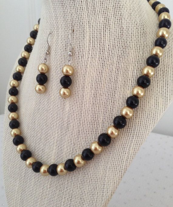 Black and Gold Pearl Necklace Gold Bridesmaid Jewelry Black and