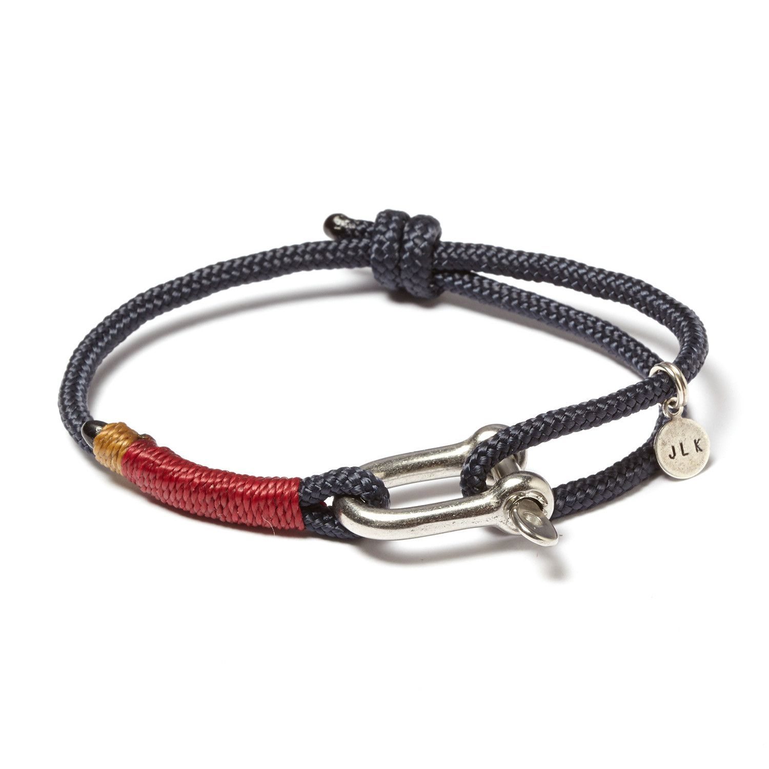 Navy + Burgundy, Stainless Steel D-Shackle Adjustable Cuff combines nautical style with durable detailing. Handmade to order in Annapolis, Maryland, this bracelet combines a stainless captive pin D-shackle, sailing line, and whipping twine   $29.99.