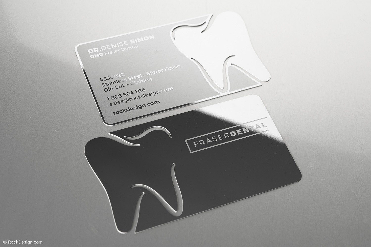 Dental Mirror Finish Stainless Steel Business Card 1 Dental Office Decor Metal Business Cards Dental Design