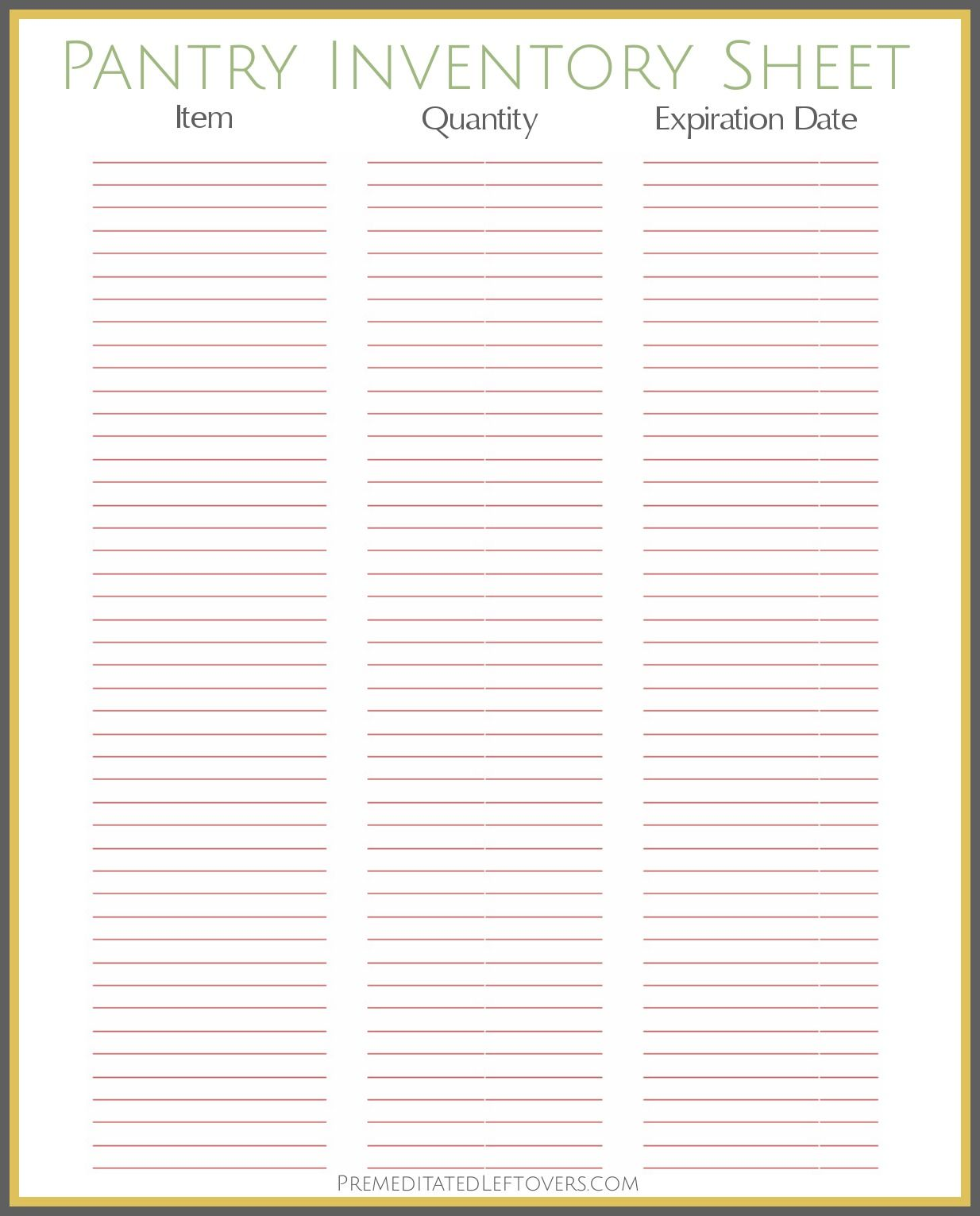 photograph relating to Inventory Sheets Printable called Free of charge Printable Pantry Stock Sheet  Printables - Neat