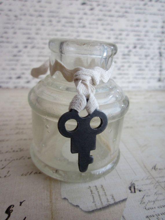 Old Vintage Antique Ink Bottle with Skeleton key by tuscanroad, $8.00