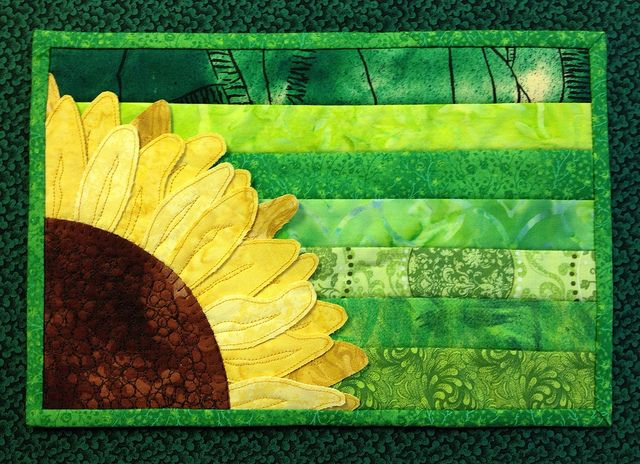 Fabric Coaster Rust Yellow Green Candle Mat Handmade Sunflower Quilted Mug Mat Snack Mat Autumn Quilted Mug Rug 12.5x8.75 Plant Mat