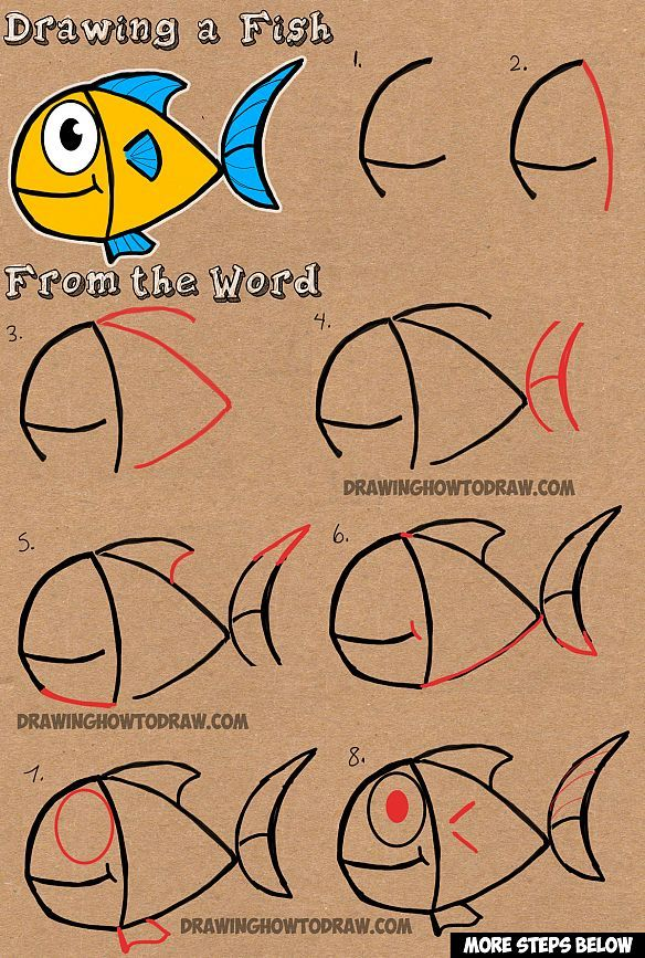 How To Draw A Cartoon Fish From Word Fish Easy Drawing Tutorial For Kids How To Draw Step By Step Drawing Tutorials Word Drawings Drawing Tutorial Drawing Tutorials For Kids