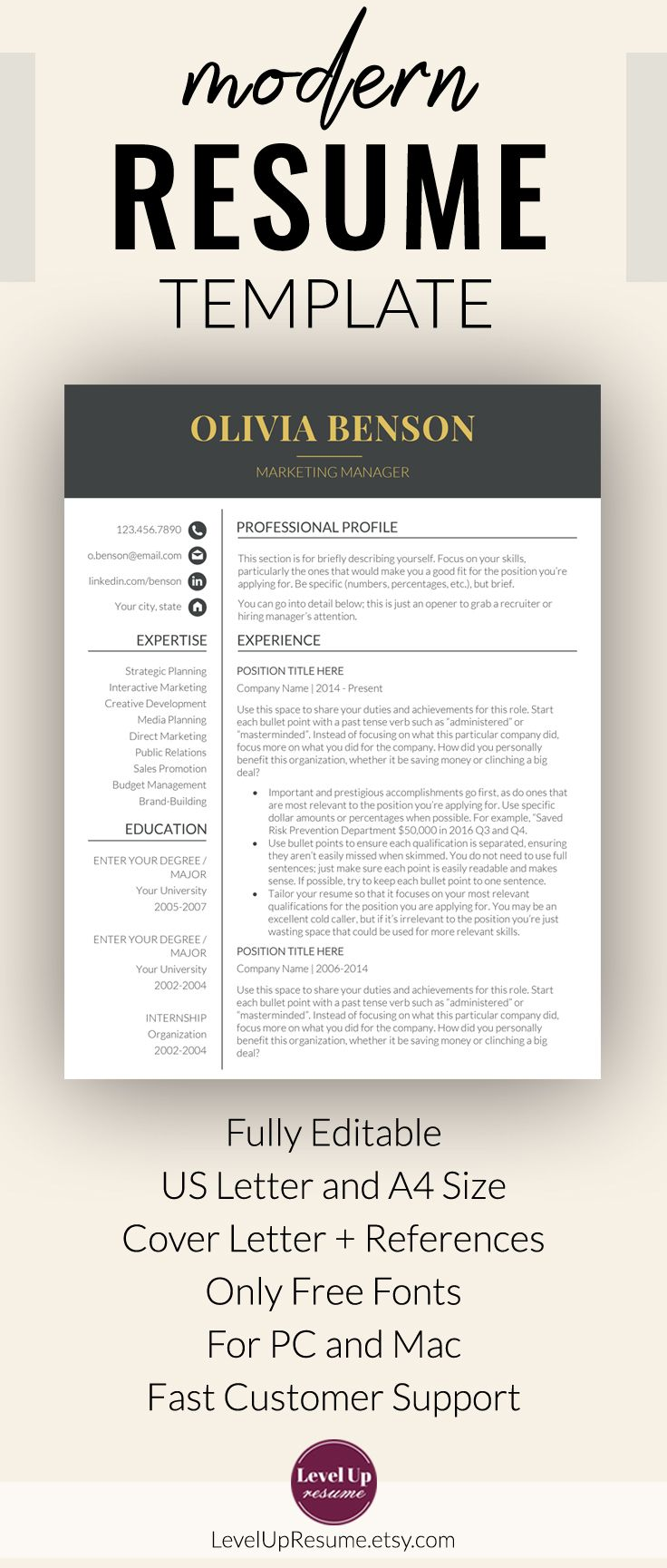 "Resume Template Ms Word Professional Resume Template For Microsoft Word ""olivia Benson"