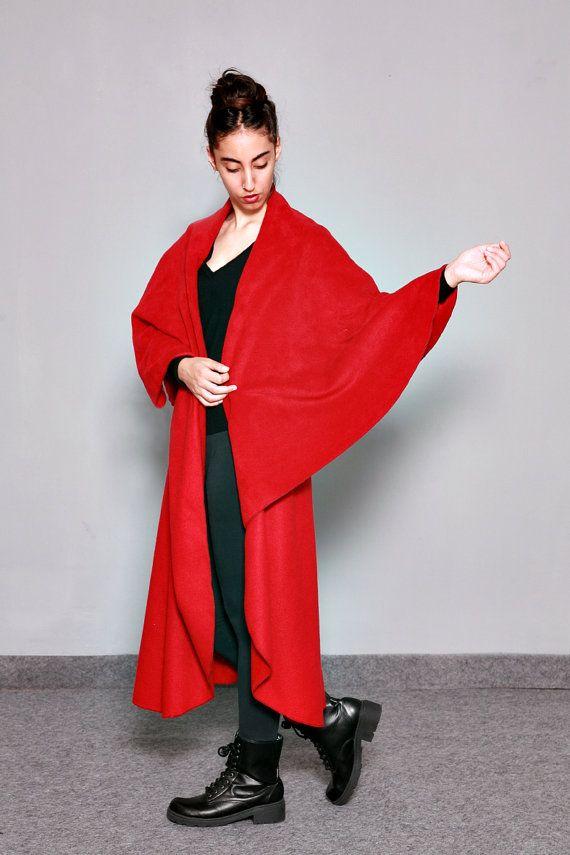 Fleece cape, Green Wrap Cape, Fleece Cardigan, Wrap Cardigan, Midi, Fleece  Jacket, Womens Cloak, Autumn Winter Cape