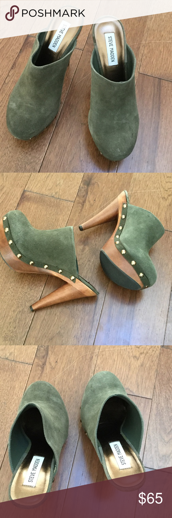 """STEVE MADDEN DISCCO OLIVE SUEDE CLOGS STEVE MADDEN DISCCO OLIVE SUEDE WOOD CLOG HEELS. WOOD PLATFORM WITH BRASS NAILHEADS. HEELS 5""""   Never WORN. Steve Madden Shoes Mules & Clogs"""