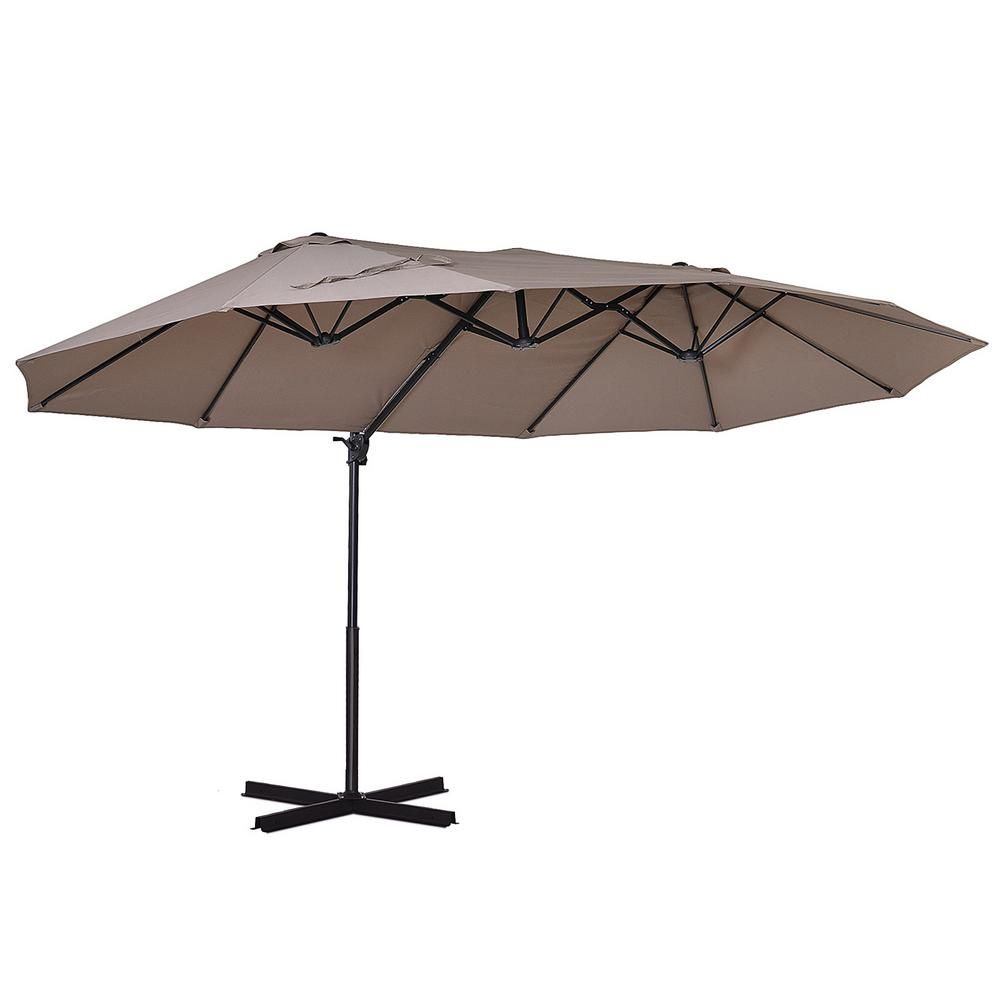 Outsunny 15 Ft W Steel Cantilever Patio Umbrella In Brown With Large Double Canopy And Water Fighting Material 84d 085bn The Home Depot In 2021 Cantilever Patio Umbrella Patio Umbrella Best Patio Umbrella