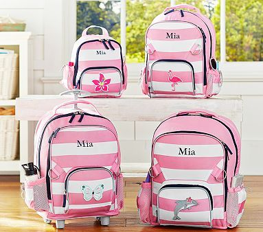 Fairfax Pink Striped Backpacks #pbkids. large with ballerina patch