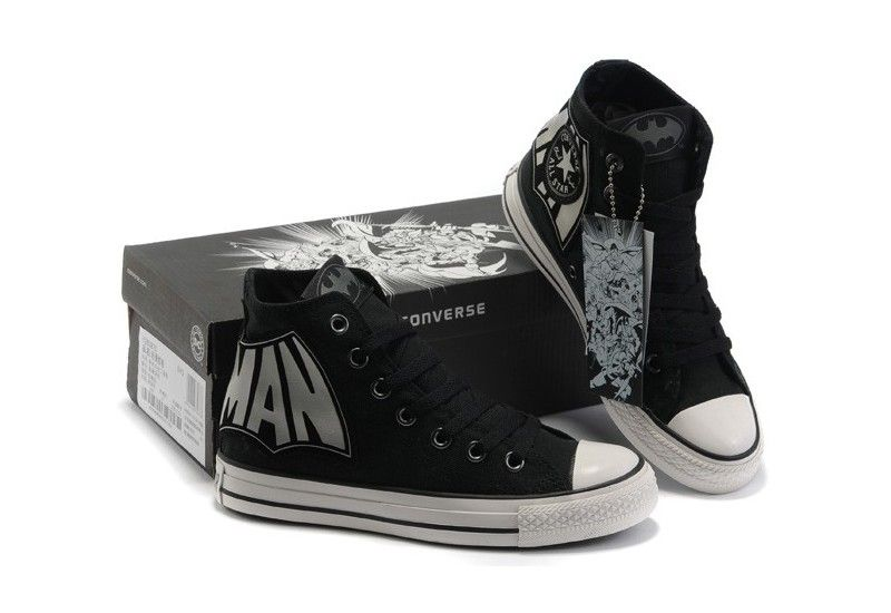 e068b92533d3 Converse Shoes Black with Grey letter DC Comics Batman Caped Crusader Womens  Mens Canvas Hi Sneakers
