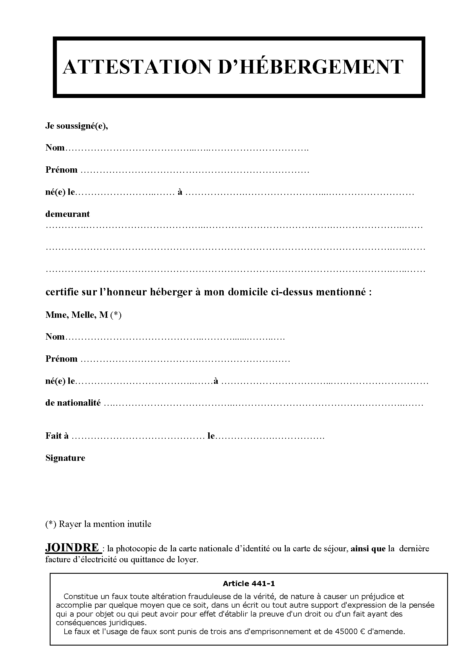 attestation d u0026 39 h u00e9bergement