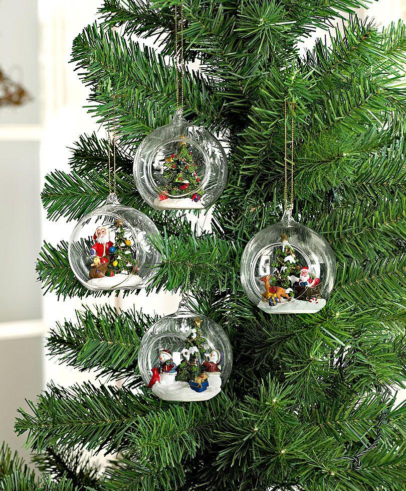 Palle di Natale in vetro con scena natalizia - #decorazioni #natale