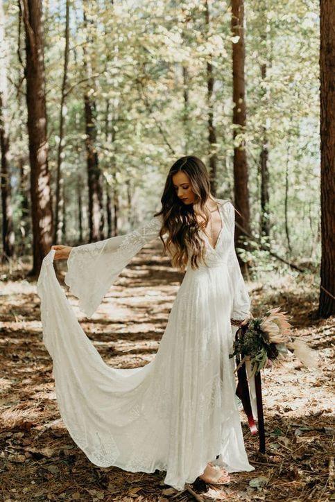 Photo of Boho Wedding Dress, Sexy Long Wedding Dress, Country Wedding Dress