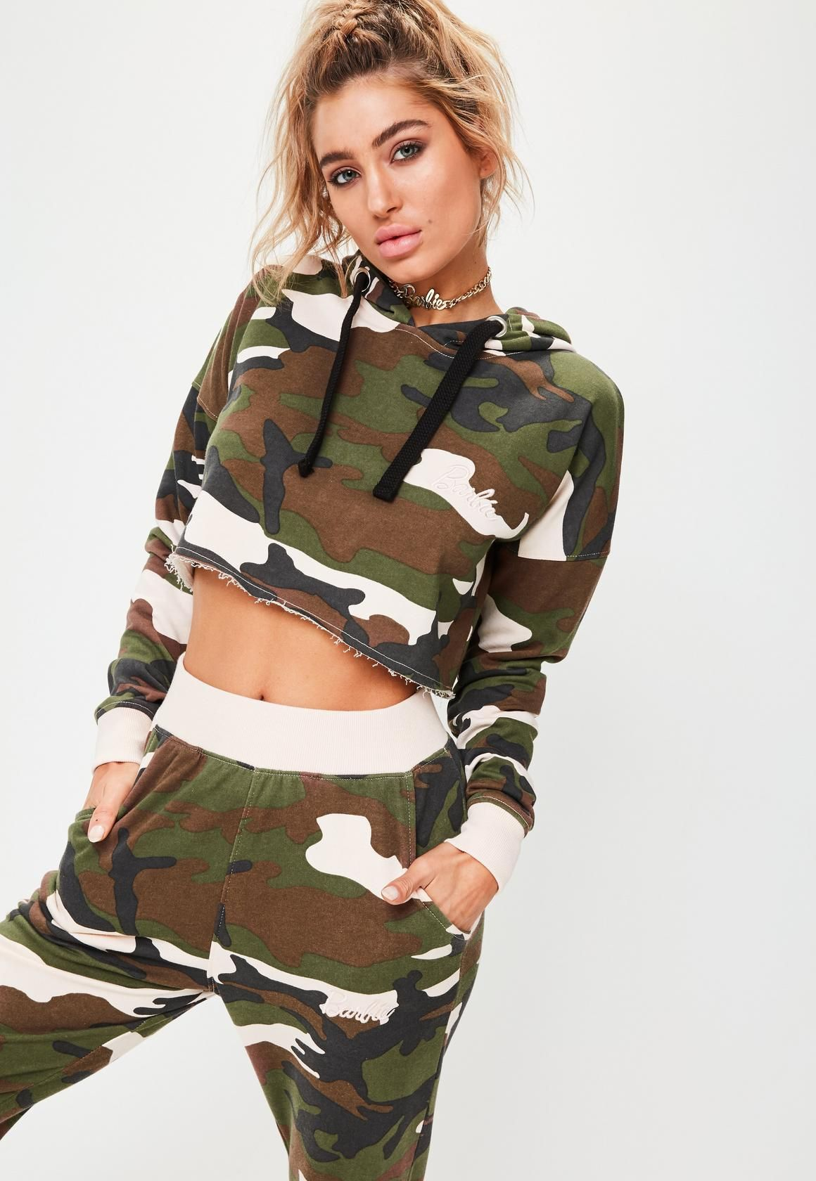 2fd94d8575985f Missguided - Barbie x Missguided Long Sleeve Camo Cropped Hoody Multi