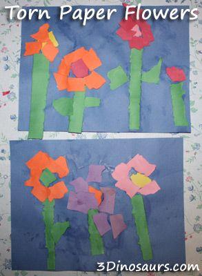 Torn Paper Flowers Preschool Arts Crafts Paper Flowers Torn Paper