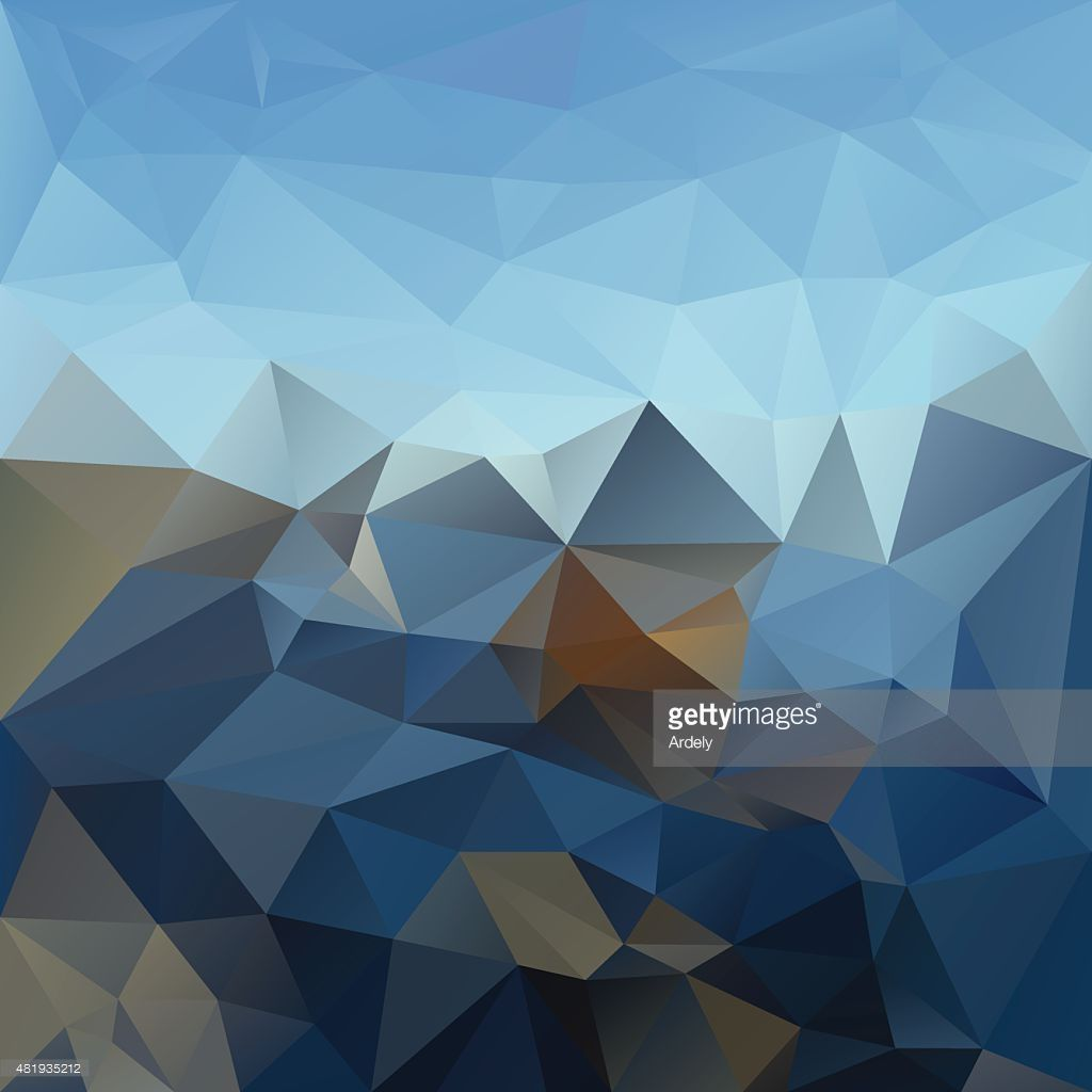 Vector Art : blue sky mountain horizon polygonal triangular pattern background