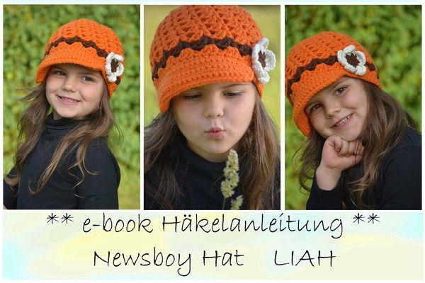 Newsboy Hat * Liah * ab 36-62 cm Kopfumfang | Вязание крючком ...