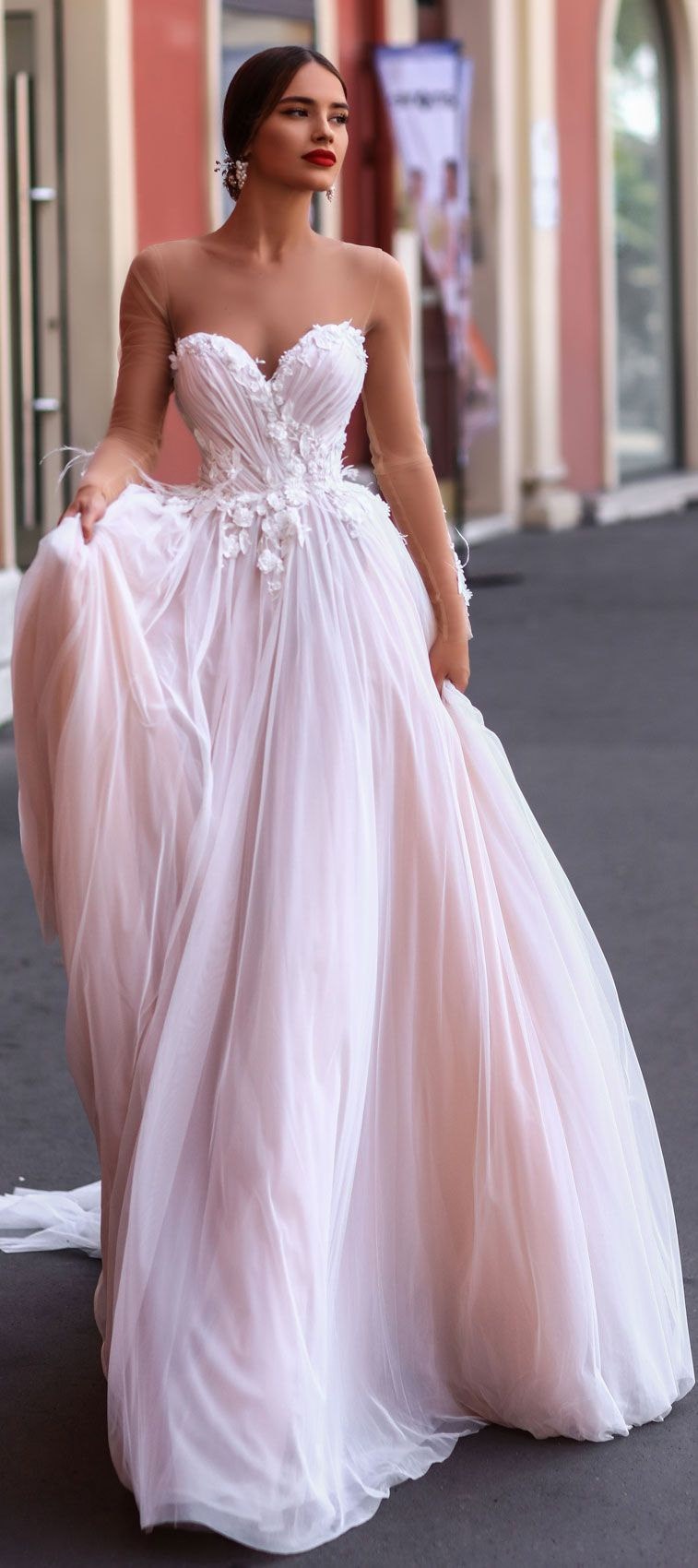 Katherine joyce wedding dresses illusion long sleeve sweetheart