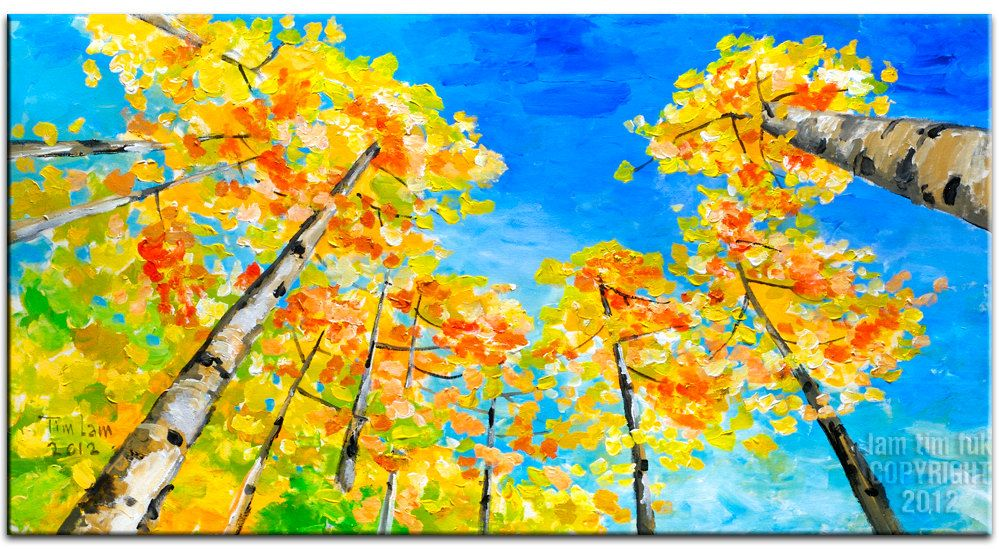 Abstract Aspen Forest, Looking Up, Contemporary acrylic painting Autumn Art by Tim Lam