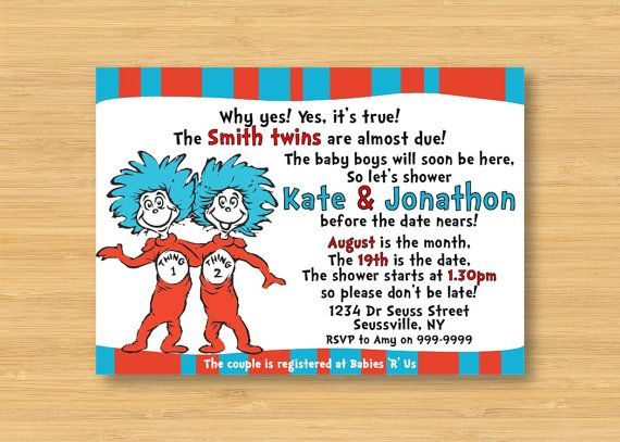 Thing 1 And Thing 2 Twins Baby Shower Invitation By Littleforests Baby  Shower Ideas