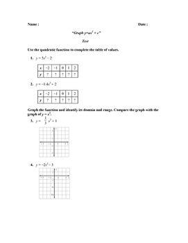 """Graph y=ax2 + c"""" Test (PARCC REVIEW)"""