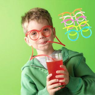 Factory  Creative Eye Glasses Shape Fruit Juice Drinking Straw Kids Favor Party Supplies Wholesale Creative
